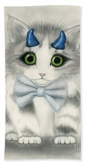 Hand Towel featuring the drawing Little Blue Horns - Devil Kitten by Carrie Hawks