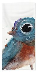 Bath Towel featuring the painting Little Bluebird by Dawn Derman