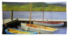 Bath Towel featuring the photograph Little Boats On The Huon by Wallaroo Images