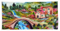Little Bridge And Country Farm Hand Towel