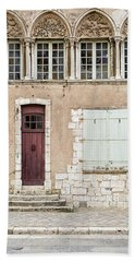 Bath Towel featuring the photograph Little Brown Door by Melanie Alexandra Price