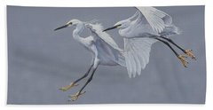 Little Egrets In Flight Bath Towel