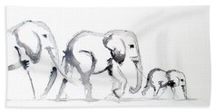 Little Elephant Family Hand Towel
