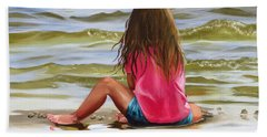 Little Girl In The Sand Hand Towel