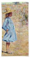 Little Girl With Blue Dress Bath Towel
