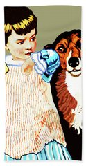 Little Girl With Hungry Mutt Hand Towel