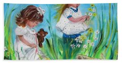 Little Girls Picking Flowers Hand Towel