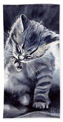 Little Grey Cat Hand Towel