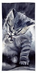 Little Grey Cat Bath Towel