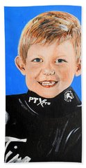 Hand Towel featuring the painting Little Mister G by Betty-Anne McDonald