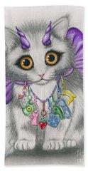 Little Purple Horns - 1980s Cute Devil Kitten Hand Towel