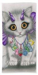 Hand Towel featuring the mixed media Little Purple Horns - 1980s Cute Devil Kitten by Carrie Hawks