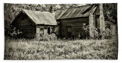 Little Red Farmhouse In Black And White Bath Towel by Paul Ward