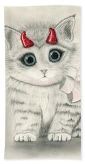 Bath Towel featuring the drawing Little Red Horns - Cute Devil Kitten by Carrie Hawks