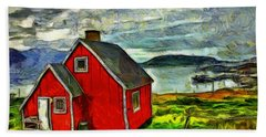 Little Red House In Greenland Bath Towel