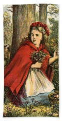 Little Red Riding Hood Gathering Flowers Bath Towel