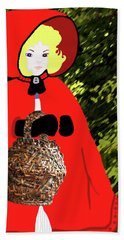 Hand Towel featuring the painting Little Red Riding Hood In The Forest by Marian Cates