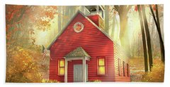 Little Red Schoolhouse Bath Towel