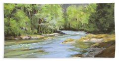 Little River Morning Hand Towel by Karen Ilari