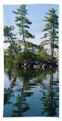 Bath Towel featuring the photograph Little Rocky Pine Tree Island On Parker Pond by Joy Nichols