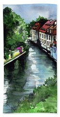 Bath Towel featuring the painting Little Venice In Prague Certovka Canal by Dora Hathazi Mendes