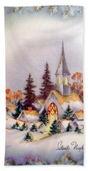 Little Village In Snow Hand Towel