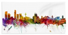 Liverpool England Skyline Panoramic Hand Towel