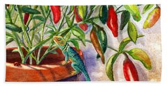 Hand Towel featuring the painting Lizard In Hot Sauce by Marilyn Smith