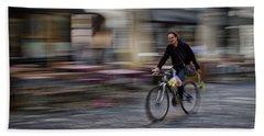 Hand Towel featuring the photograph Ljubljana Bicycle Rider - Slovenia by Stuart Litoff