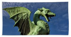 Hand Towel featuring the photograph Ljubljana Dragon - Slovenia by Stuart Litoff