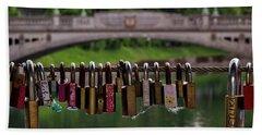 Hand Towel featuring the photograph Ljubljana Love Locks - Slovenia  by Stuart Litoff