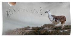 Llama Singing To The Moon Hand Towel