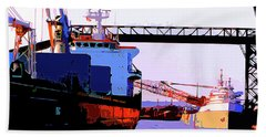 Loading The Iron Ore On The Great Lakes Freighters Bath Towel