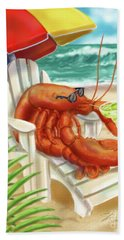 Lobster Drinking A Margarita Bath Towel