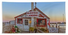 Hand Towel featuring the photograph Lobster Landing Sunset by Edward Fielding