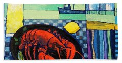 Bath Towel featuring the painting Lobster by Mikhail Zarovny