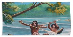 Locals Rowing In The Amazon River Hand Towel