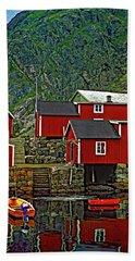 Lofoten Fishing Huts Hand Towel by Steve Harrington