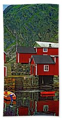 Lofoten Fishing Huts Bath Towel