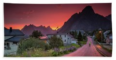Lofoten Nightlife  Hand Towel by Alex Conu