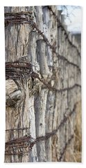 Hand Towel featuring the photograph Log And Wire Fence by Phyllis Denton