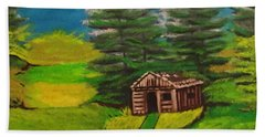 Bath Towel featuring the painting Log Cabin by Brindha Naveen