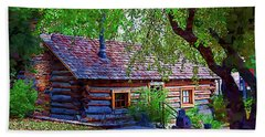 Log Cabin In The Woods Hand Towel