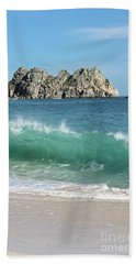 Hand Towel featuring the photograph Logan Rock Porthcurno Cornwall by Terri Waters