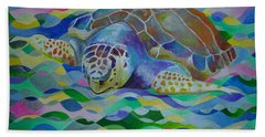 Loggerhead Turtle Hand Towel by Tracey Harrington-Simpson