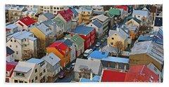 Lokastigur Street In Reykjavik From Hallgrimskirkja 7227 Hand Towel