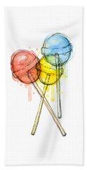 Lollipop Candy Watercolor Hand Towel