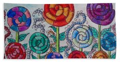 Bath Towel featuring the drawing Lollipop Garden by Megan Walsh