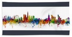 London And Warsaw Skylines Mashup Hand Towel