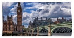 Hand Towel featuring the painting London Big Ben by David Dehner